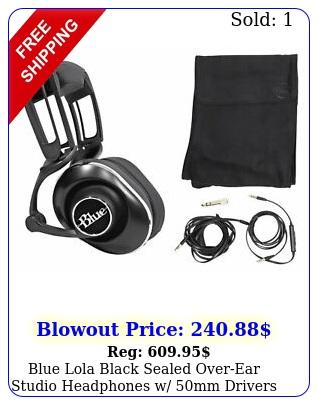 blue lola black sealed overear studio headphones w mm drivers cables cas