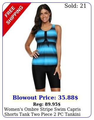 women's ombre stripe swim capris shorts tank two piece pc tankini swimsuit se