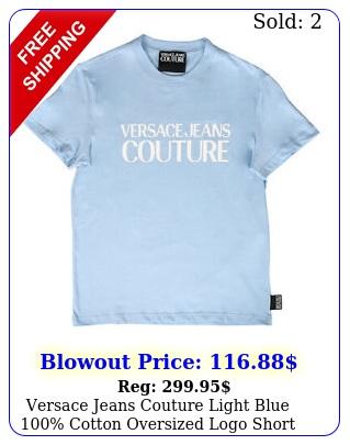 versace jeans couture light blue cotton oversized logo short sleev