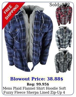 mens plaid flannel shirt hoodie soft fuzzy fleece sherpa lined zipup pocke
