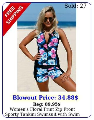 women's floral print zip front sporty tankini swimsuit with swim shorts swimwea