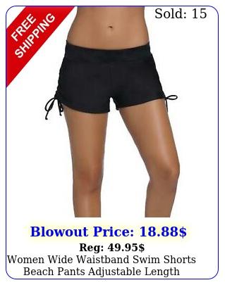 women wide waistband swim shorts beach pants adjustable length swimwear bottom