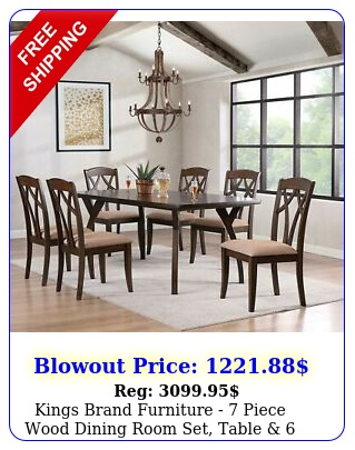 kings brand furniture  piece wood dining room set table  chairs cherr