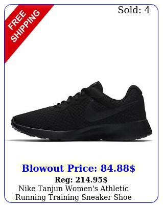 nike tanjun women's athletic running training sneaker shoe black workout traine