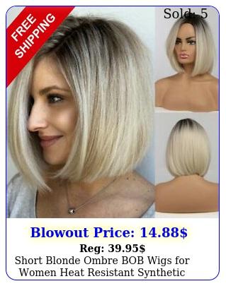 short blonde ombre bob wigs women heat resistant synthetic wigs straight