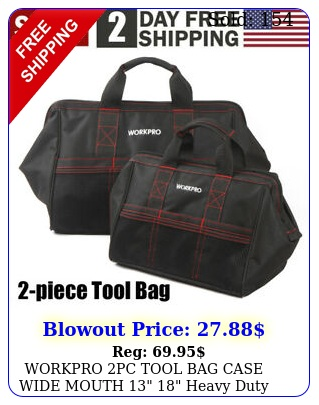 workpro pc tool bag case wide mouth  heavy duty tote storage wzipper u