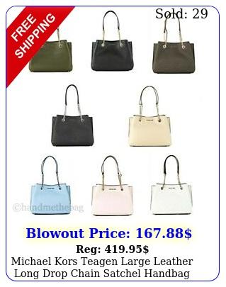 michael kors teagen large leather long drop chain satchel handbag purs