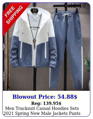 men tracksuit casual hoodies sets spring male jackets pants streetwea