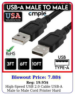 highspeed usb cable usba male to male cord printer hard drive type a wir