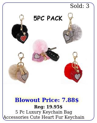 pc luxury keychain bag accessories cute heart fur keychain pom pom great gif