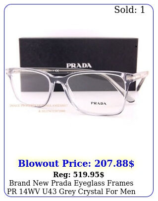 brand prada eyeglass frames pr wv u grey crystal men women size m