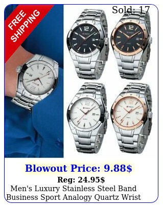 men's luxury stainless steel band business sport analogy quartz wrist watch ho