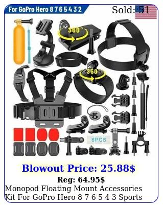 monopod floating mount accessories kit gopro hero    sports camer