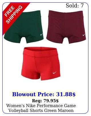 women's nike performance game volleyball shorts green maroon small medium w