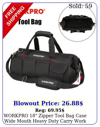 workpro zipper tool bag case wide mouth heavy duty carry work tote storag