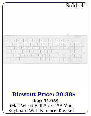 imac wired full size usb mac keyboard with numeric keypad white pc key