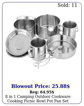 in camping outdoor cookware cooking picnic bowl pot pan set stainless stee
