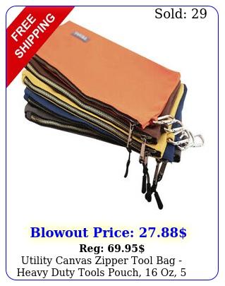 utility canvas zipper tool bag heavy duty tools pouch oz pac