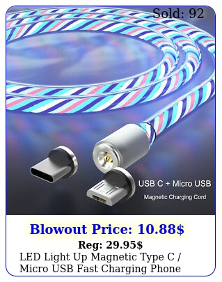 led light up magnetic type c micro usb fast charging phone charger cable cor