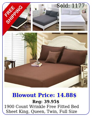 count wrinkle free fitted bed sheet king queen twin full siz