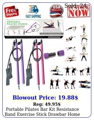 portable pilates bar kit resistance band exercise stick drawbar home yoga gy