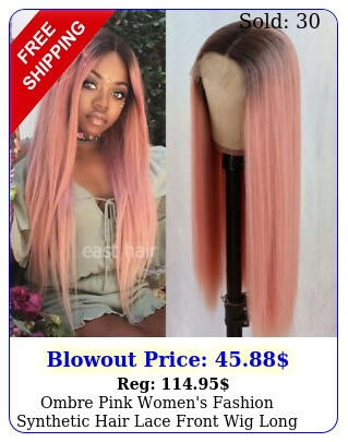ombre pink women's fashion synthetic hair lace front wig long straight full wig