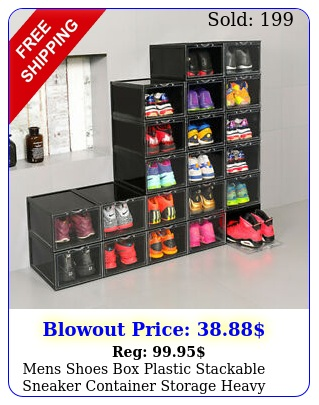 mens shoes plastic stackable sneaker container storage heavy duty organize