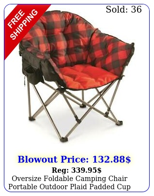 oversize foldable camping chair portable outdoor plaid padded cup lb stee