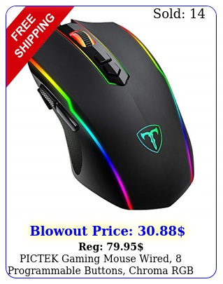 pictek gaming mouse wired programmable buttons chroma rgb backlit dp