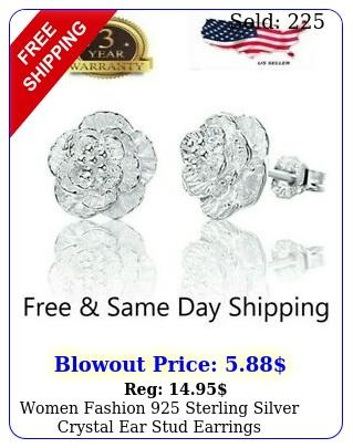 women fashion sterling silver crystal ear stud earring