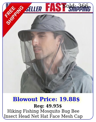 hiking fishing mosquito bug bee insect head net hat face mesh cap sun protectio