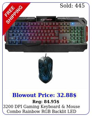 dpi gaming keyboard mouse combo rainbow rgb backlit led mechanical fee