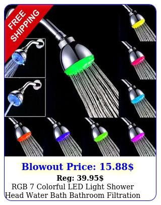 rgb colorful led light shower head water bath bathroom filtration shower us