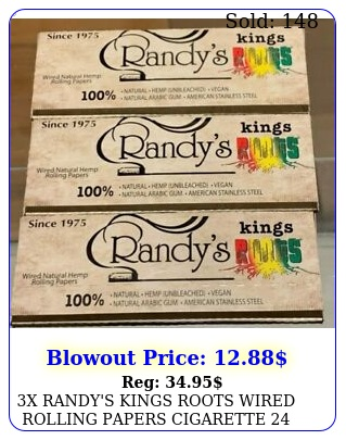 x randy's kings roots wired rolling papers cigarette leaves book pack