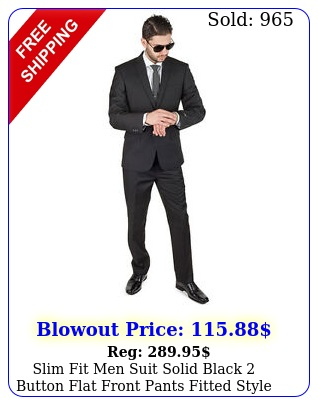 slim fit men suit solid black button flat front pants fitted style by azar ma