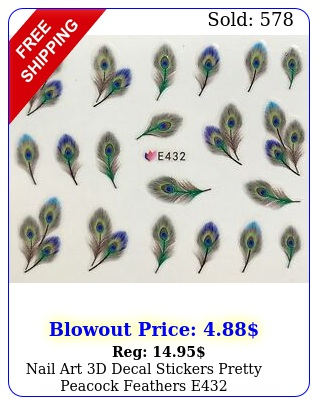 nail art d decal stickers pretty peacock feathers