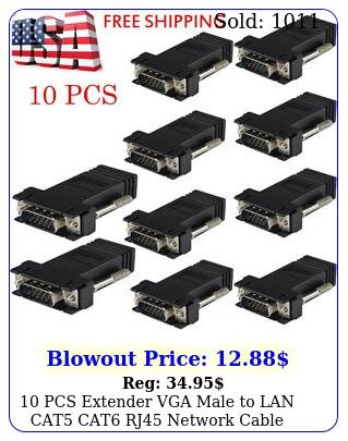 pcs extender vga male to lan cat cat rj network cable female adapter u
