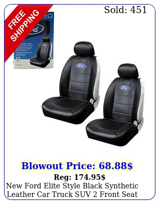 ford elite style black synthetic leather car truck suv front seat cover