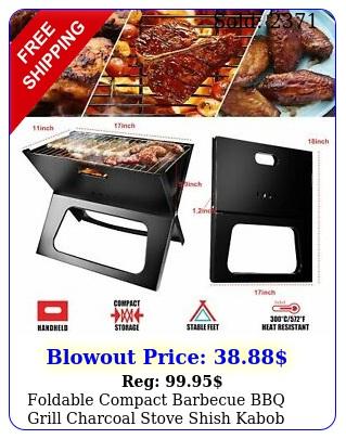 foldable compact barbecue bbq grill charcoal stove shish kabob camping cooker u
