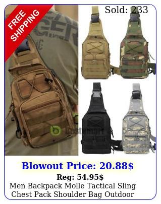 men backpack molle tactical sling chest pack shoulder bag outdoor hiking trave