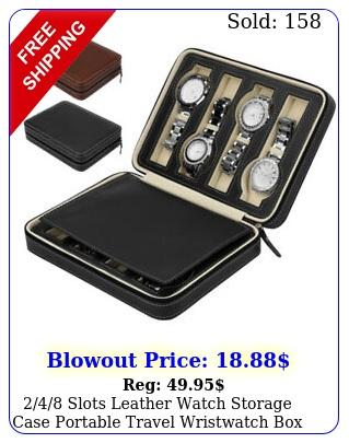 slots leather watch storage case portable travel wristwatch organize