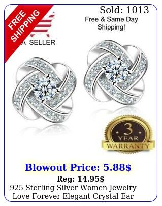 sterling silver women jewelry love forever elegant crystal ear stud earring