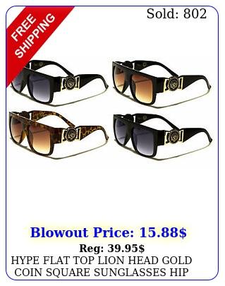 hype flat top lion head gold coin square sunglasses hip hop rap luxury retro vt