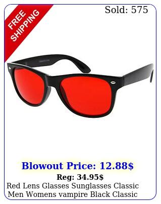 red lens glasses sunglasses classic men womens vampire black classic retro tin