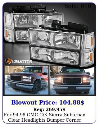gmc ck sierra suburban clear headlights bumper corner signal light
