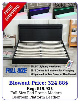 full size bed frame modern bedroom platform leather headboard led light blac