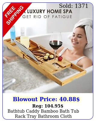 bathtub caddy bamboo bath tub rack tray bathroom cloth bookpadtablet holde