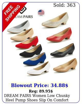 dream pairs women low chunky heel pump shoes slip on comfort dress shoe