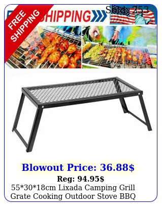 cm lixada camping grill grate cooking outdoor stove bbq open fire gif