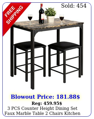 pcs counter height dining set faux marble table chairs kitchen bar furnitur
